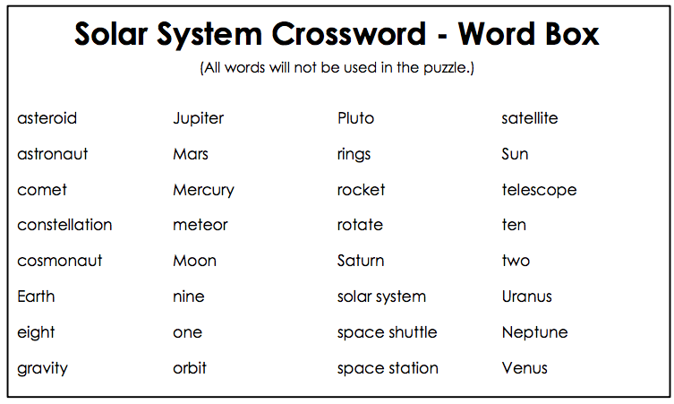 solar system crossword answers - photo #17